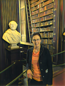 filtered image of Maryanne in Trinity College Library, Dublin