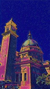 enhanced photo of the tower and dome of Univ. of San Francisco