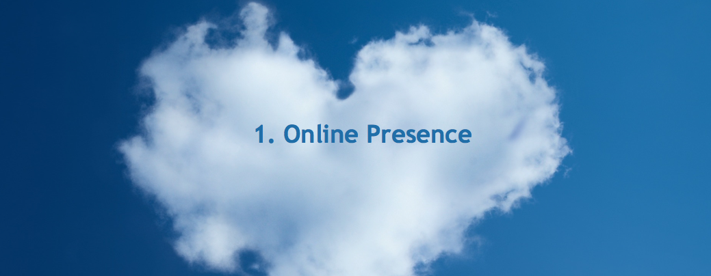 image banner of heart-shaped cloud with the words: 1. Online Presence